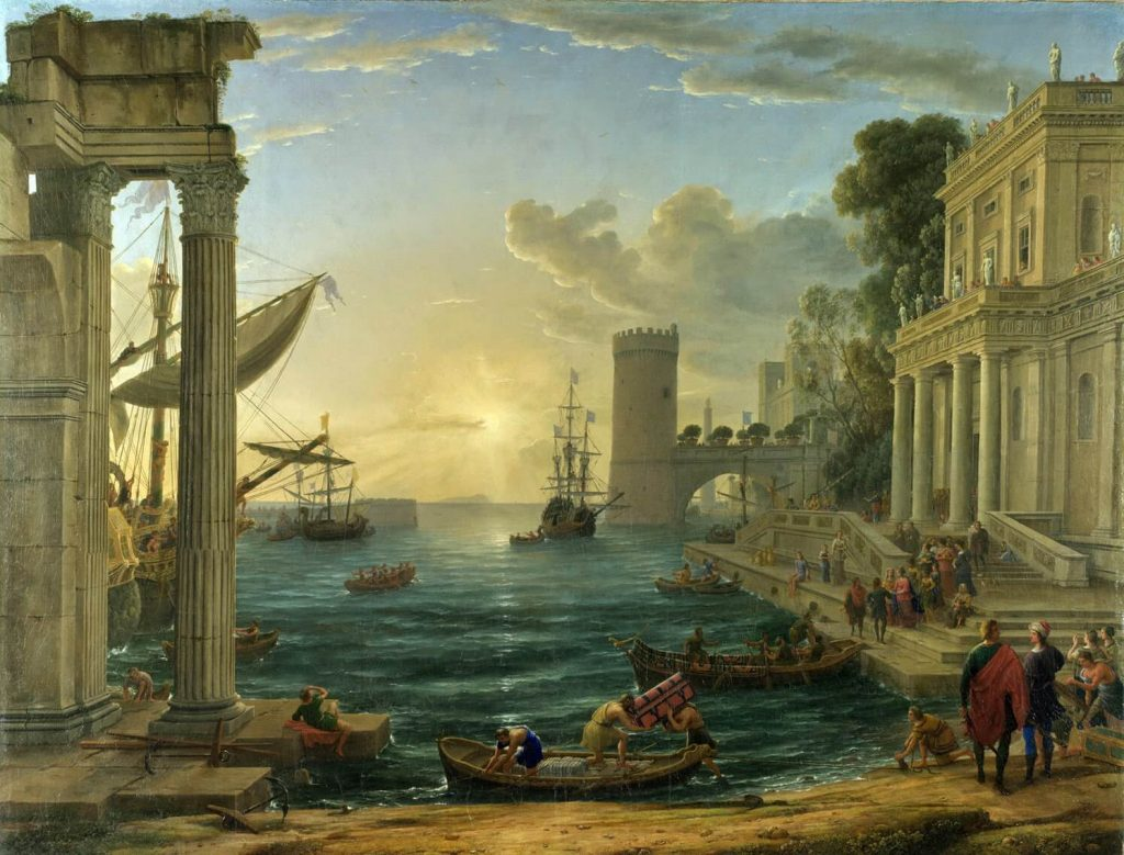 Claude Lorrain – Embarkation of the Queen of Sheba [1648]