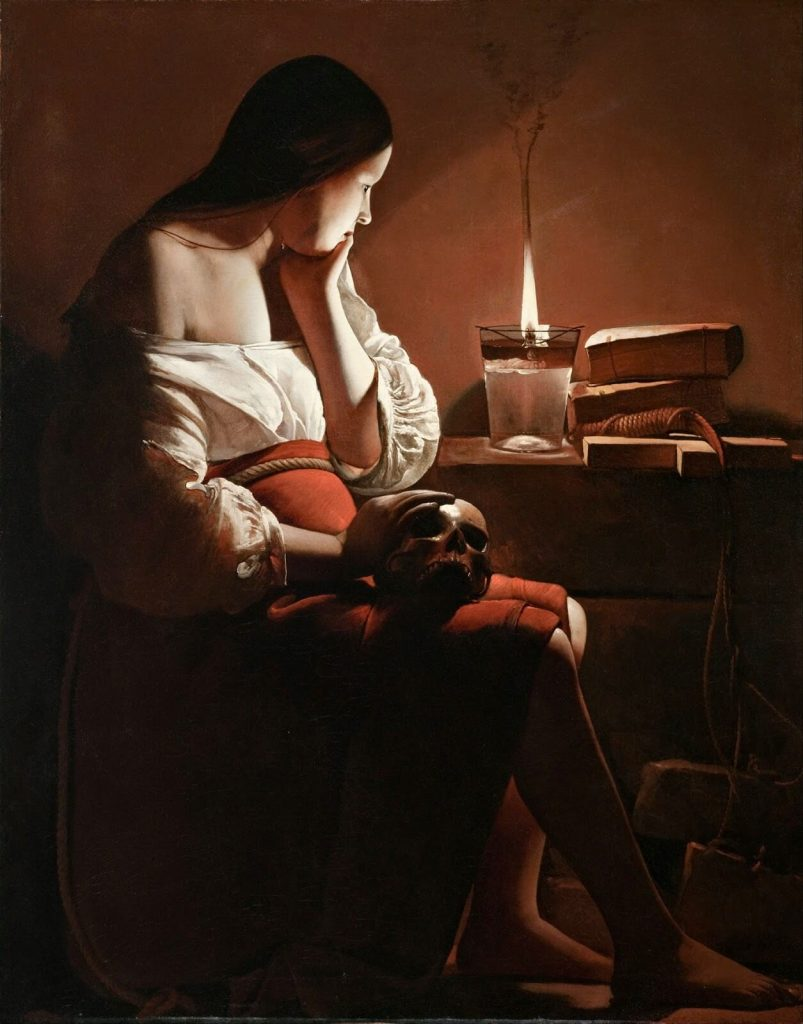 Georges de la Tour – Magdalen With the Smoking Flame [La Madeleine à la veilleuse, 1640]