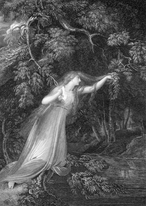 Richard Westall's Ophelia, engraved by J. Parker