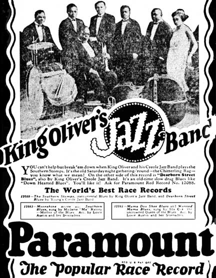 King Oliver's Jazz Band ad of the 20's