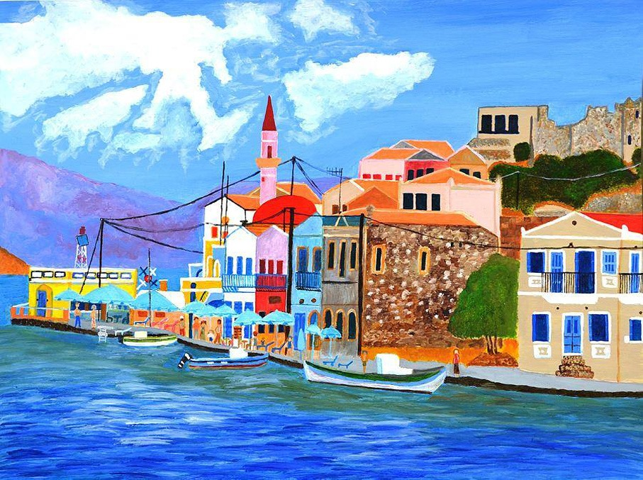 Ένας πίνακας που απεικονίζει τη θάλασσα και ένα πολύχρωμο ελληνικό νησί