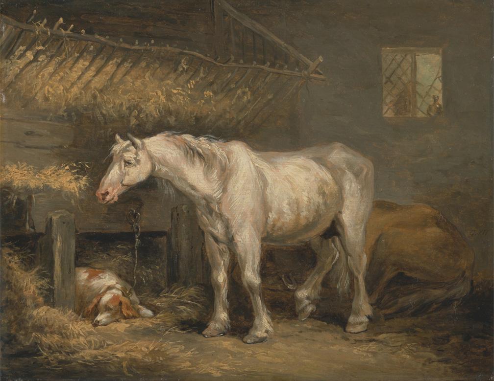 """Πίνακας: George Morland """"Old horses with a dog in a stable"""", 1791"""