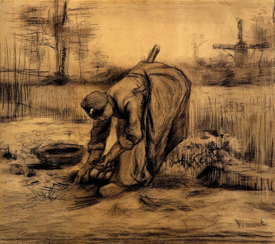 Σχέδιο του Βαν Γκογκ [Van Gogh] με κιμωλία σε χαρτί, 1885