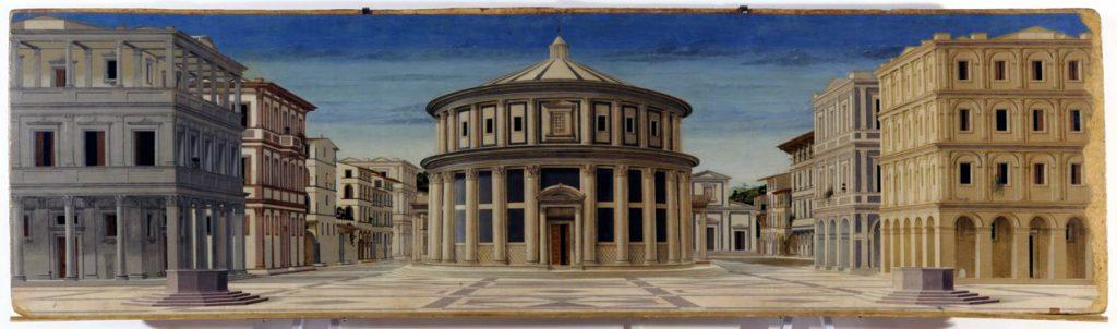"""""""Ιδανική Πόλη"""", έργο που αποδιδόταν στον Piero della Francesca και τώρα αποδίδεται σε έναν εκ των Luciano Laurana, Francesco di Giorgio Martini και Melozzo da Forlì"""