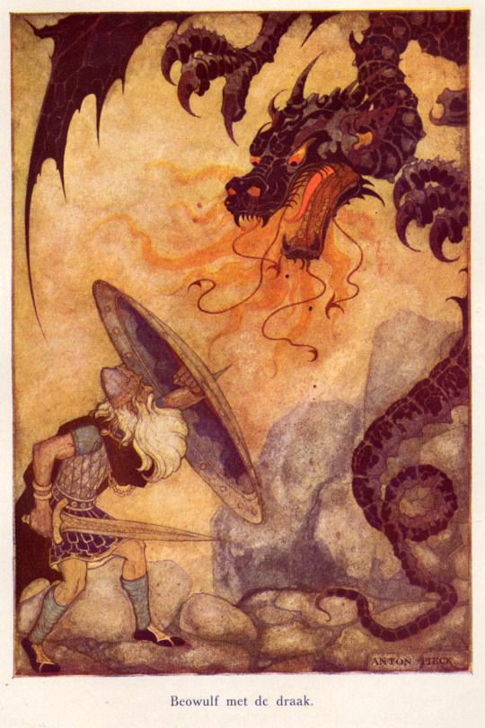 Εικονογράφηση για το Μπέοφουλφ / Anton Pieck - Illustration of Beowulf from Heroes Of Mankind, 1941