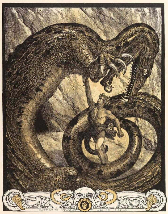 Εικονογράφηση για το Τραγούδι των Νιμπελούνγκεν / Franz Stassen - Illustration for Der Ring Des Nibelungen c.1913