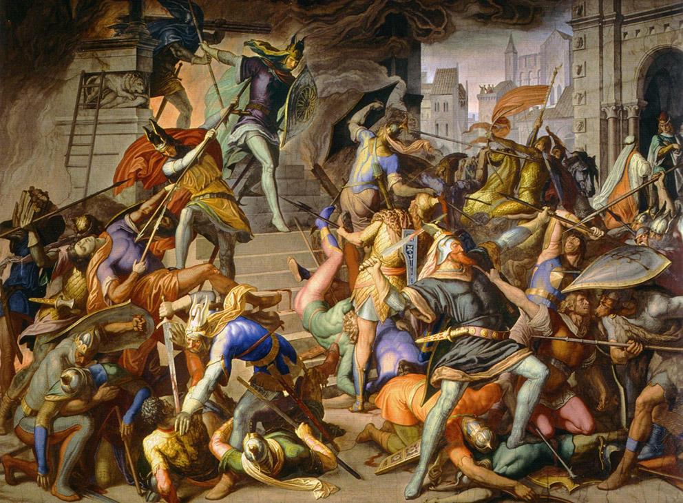 Julius Schnorr von Carolsfeld - King Etzel kills the Burgundians, 1828-67 / Πίνακας για το Τραγούδι των Νιμπελούνγκεν