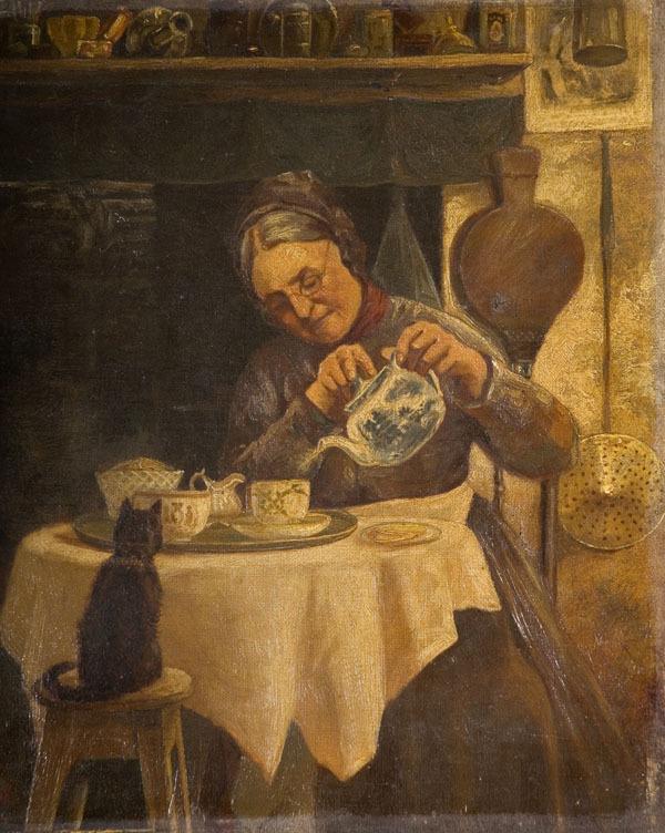 Ηλικιωμένη σερβίρει τσάι... Αγνώστου ζωγράφου, πίνακας του 19ου αιώνα / Old Woman pouring tea, by unknown artist