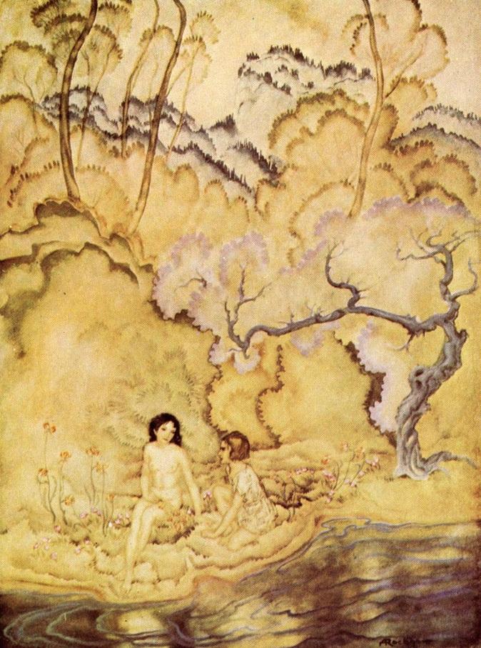 """Εικονογράφηση του Arthur Rackham [1935] για την """"Eleonora"""" του Edgar Allan Poe"""