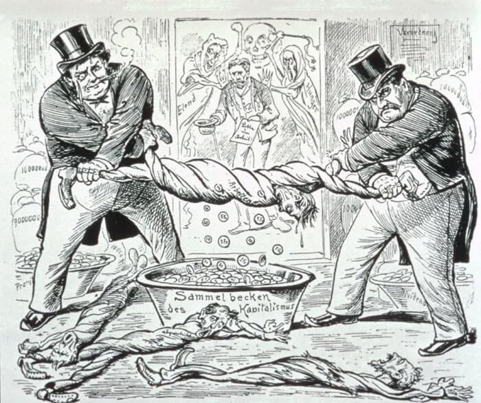 Κλασική γελοιογραφία για τον καπιταλισμό / Capitalism draining the workers, classic cartoon