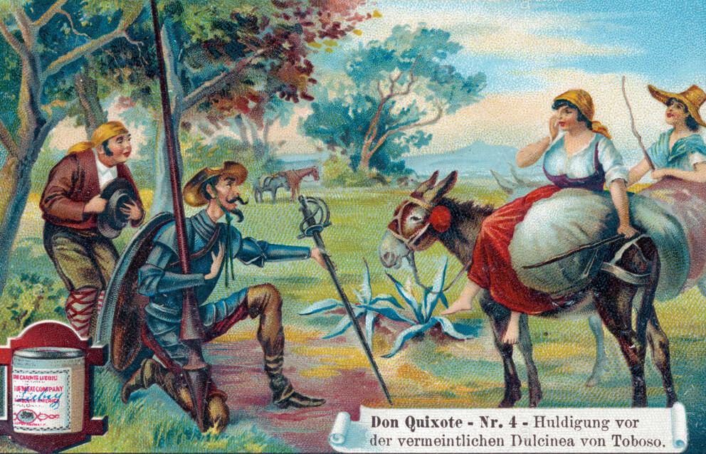 Ο έρωτας του Δον Κιχώτη για τη Δουλτσινέα σε παλιά εικονογράφηση διαφήμισης / Don Quixote and Dulcinea, liebig ad illustration