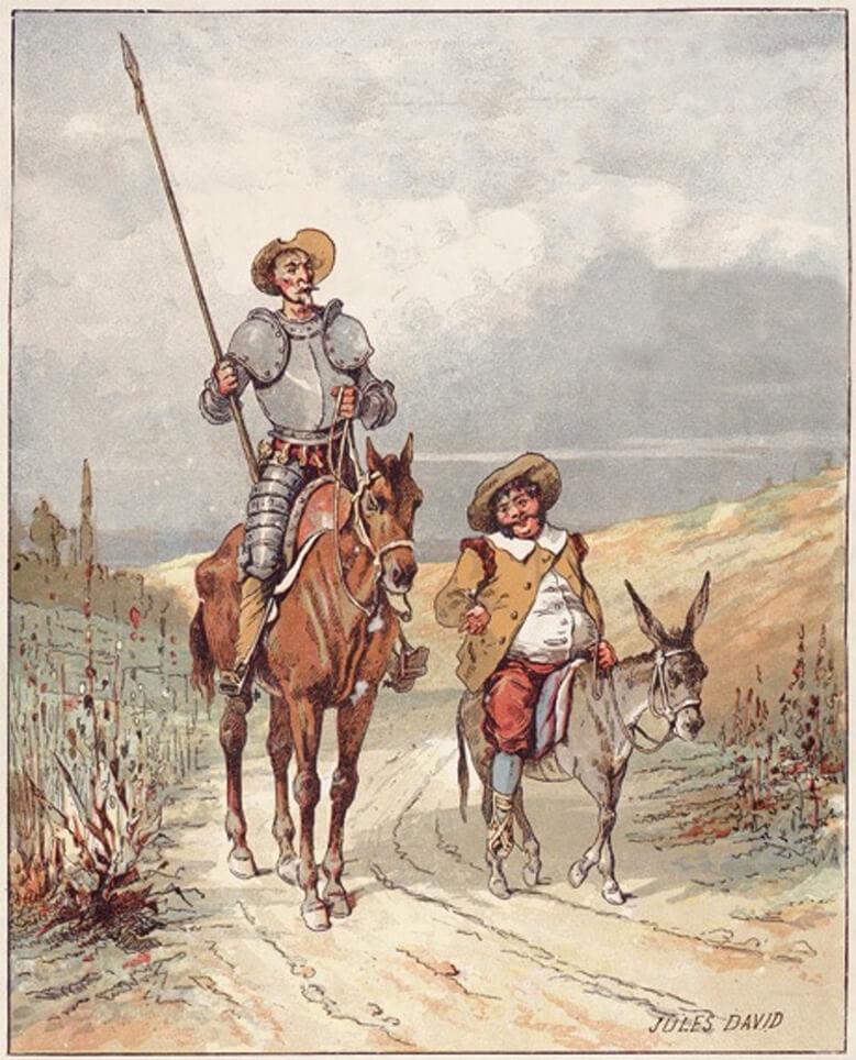 Don Quixote and Sancho Panza by Jules David, 1887 / Ο Δον Κιχώτης και ο Σάντσο Πάντσα σε εικονογράφηση του Jules David