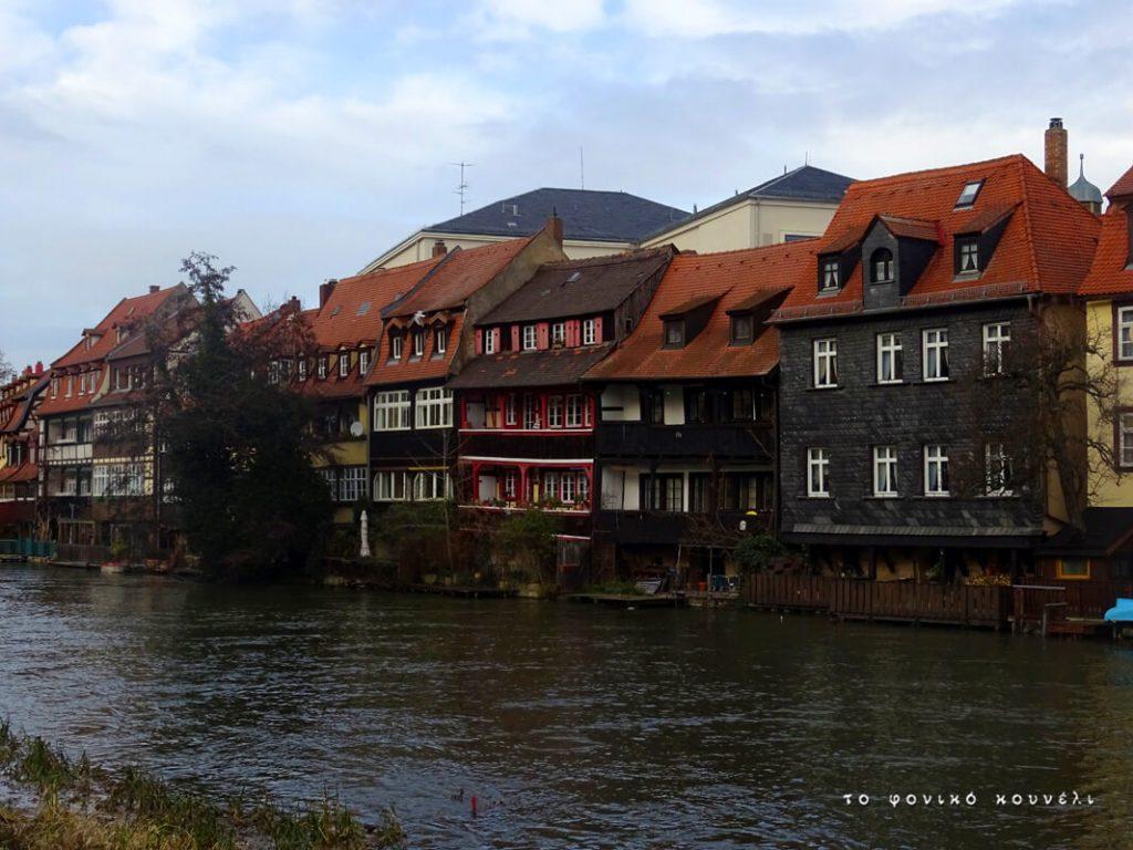 Ποτάμι και σπίτια στη Μικρή Ολλανδία του Μπάμπεργκ / Little Holland view in Bamberg, Bavaria