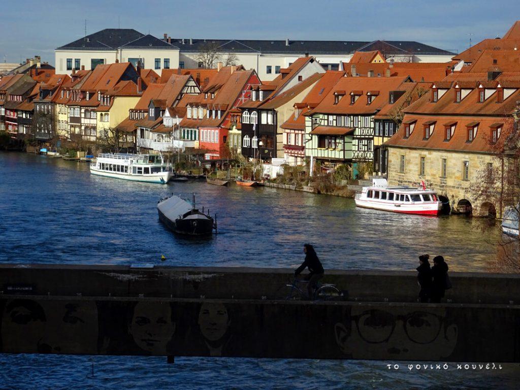 Θέα από τη γέφυρα στο Μπάμπεργκ της Βαυαρίας / Bridge view in Bamberg, Germany