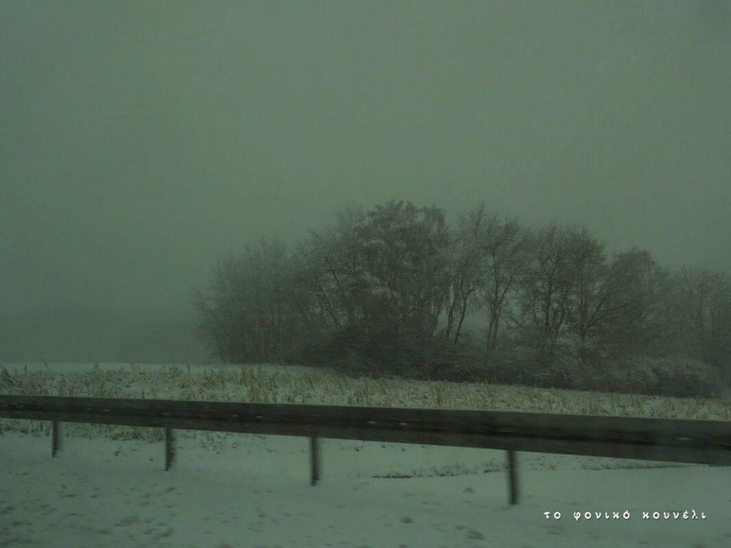 Τοπίο στην ομίχλη στον δρόμο προς το Μόναχο / Snow and fog on the road to Munich