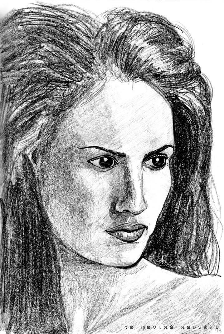 πορτραίτο γυναίκας με μολύβι, από το φονικό κουνέλι