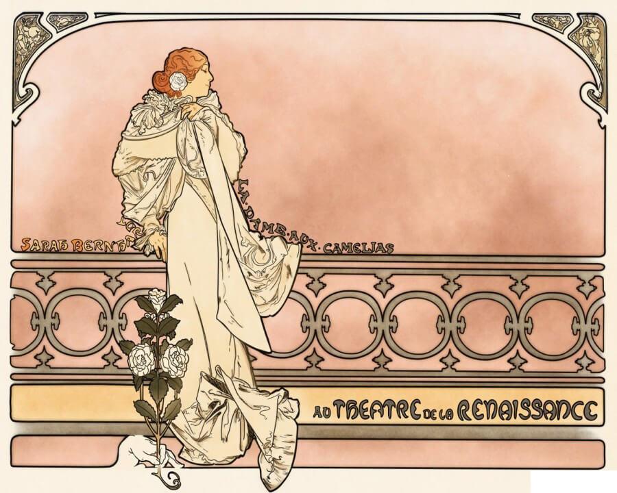 Εικονογράφηση του Alphonse Mucha για την Κυρία με τις Καμέλιες του Αλέξανδρου Δουμά