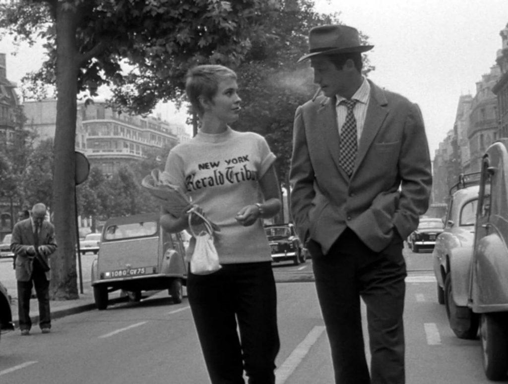 Ζαν Πολ Μπελμοντό και Τζιν Σίμπεργκ στους δρόμους του Παρισιού, από το Breathless του Godard