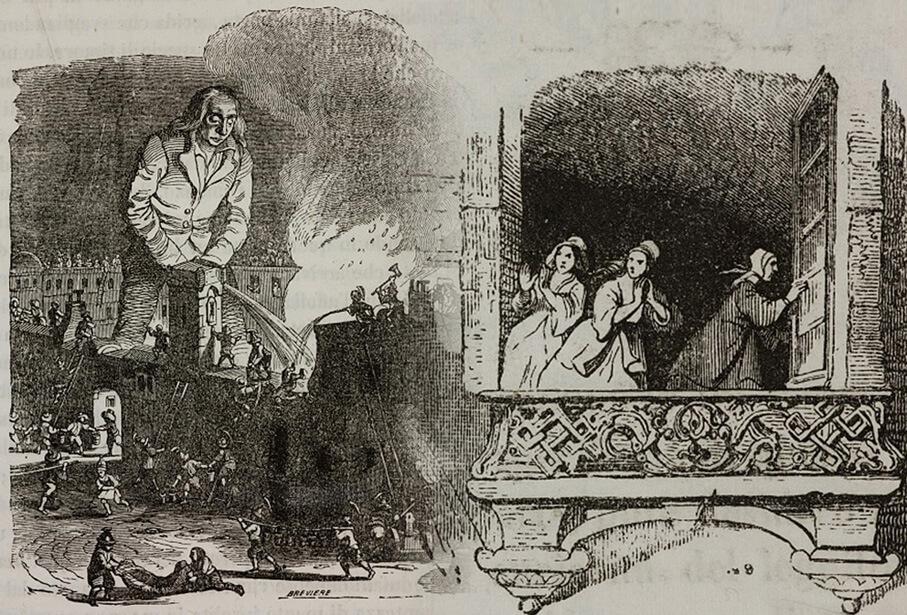 Εικονογράφηση για τα Ταξίδια του Γκιούλιβερ - η σκηνή με το σβήσιμο της πυρκαγιάς / Gulliver puts out the fire, illustration