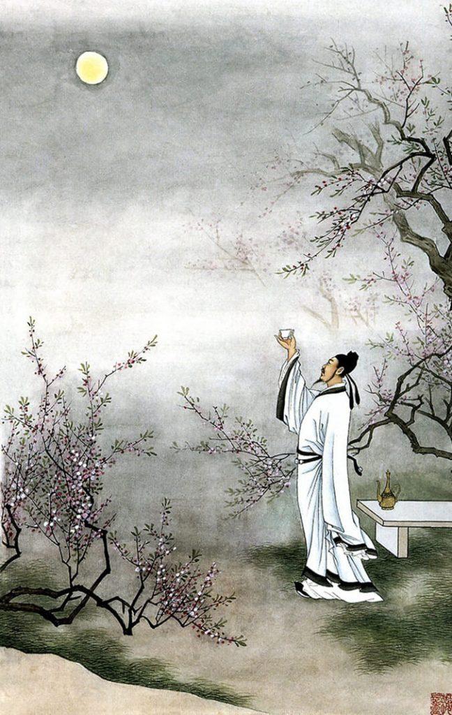 Li Bai drinking with the moon / O ποιητής Λι Πο πίνει στη φεγγαράδα