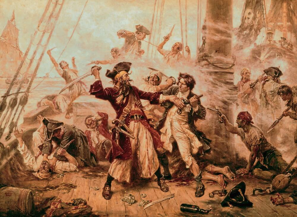 The Capture of the Pirate Blackbeard 1718, painting by Jean Leon Gerome Ferris