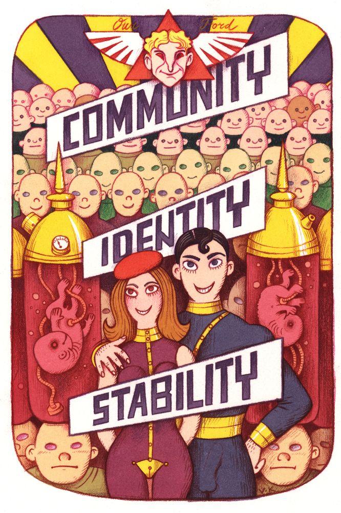 Brave New World poster - Community, Identity, Stability / Αφίσα για τον Θαυμαστό Καινούργιο Κόσμο