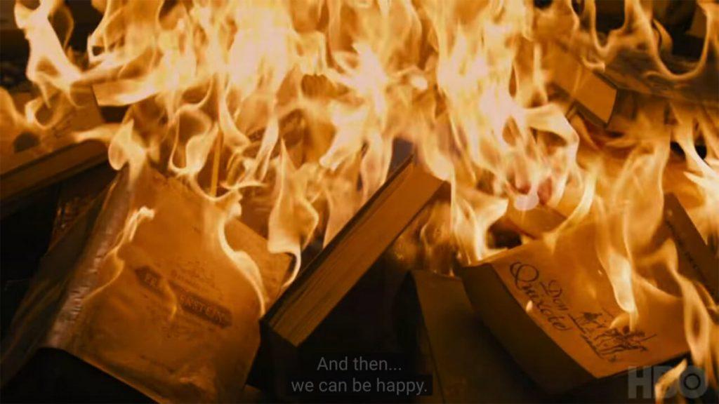 Fahrenheit 451 book burning / Κάψιμο βιβλίων, σκηνή από το Φαρενάιτ 451