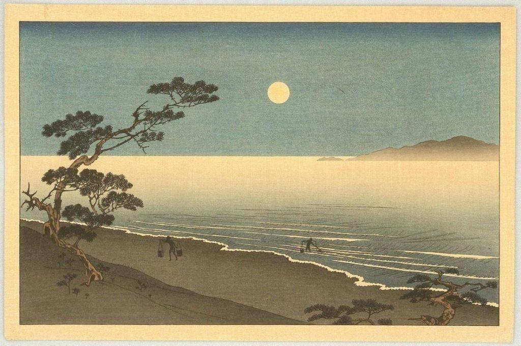 Ιαπωνική ζωγραφική, φεγγάρι σε παραλία / Japanese moon drawing